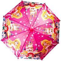Зонт-трость детский со свистком в футляре в виде складного стаканчика (Принцессы Disney)