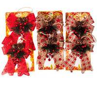 Набор новогодних украшений «Бантик с шишками», 2 штуки (Бежевый с узором), фото 1