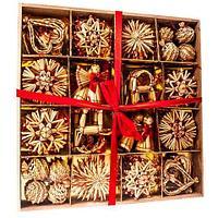 Набор новогодних украшений ручной работы из соломы, 56 предметов, фото 1