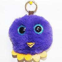 Брелок из натурального меха «Совёнок» (Фиолетовый), фото 1