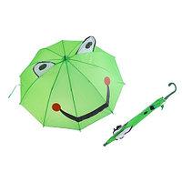 """Зонт-трость детский 3D со свистком и ушками (""""Зелёная лягушка"""")"""
