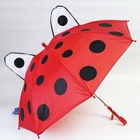 """Зонт-трость детский 3D со свистком и ушками (""""Божья коровка""""), фото 1"""