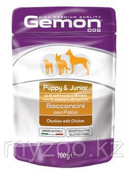 Gemon Dog High Premium Quality Chunkies Puppy & Junior Chicken, кусочки курицы для щенков, пауч 100гр.