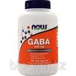 ГАМК, (GABA)500 мг. Гамма-аминомасляная кислота. Аналог Гаммалона.  200 капсул.   Now Foods.