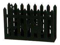 Салфетница металлическая ажурная (Черный / Заборчик с бабочками)