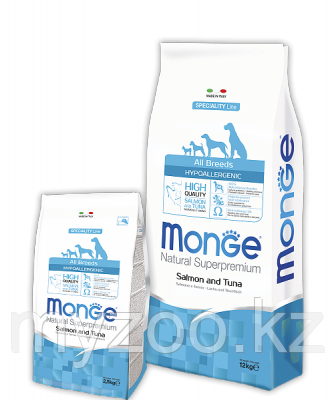 Monge Line All Breeds Adult  Salmone&Tuna. Монже сухой корм для собак с лососем и тунцом, уп. 12кг