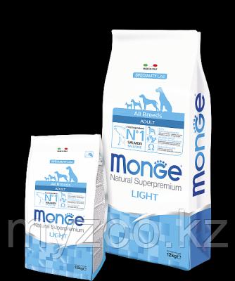 Monge Speciality line All Breed Adult Light with Salmon and Rice, Монже сухой корм для собак, облегченный на л