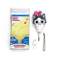 Наушники «Няшные зверята» RETRACTABLE EARPHONE (Любознательный котенок), фото 1