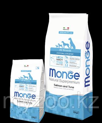 Monge Line All Breeds Adult  Salmone&Tuna. Монже сухой корм для собак с лососем и тунцом, уп.2,5кг