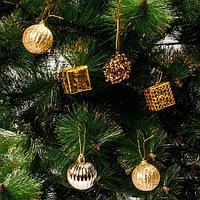 Набор елочных игрушек «Новогоднее изящество» в подарочной упаковке [35 шт] (Золотой), фото 1