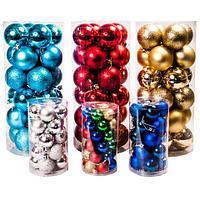 Набор елочных шаров с декоративным покрытием трех видов в тубе (Красный / 6,5 см)
