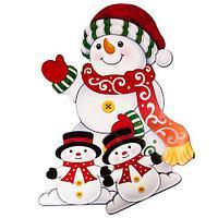 Фигура ростовая новогодняя двусторонняя с глиттером «Сказочные друзья» (Снеговики)