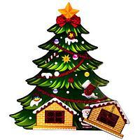 Фигура ростовая новогодняя двусторонняя с глиттером «Сказочные друзья» (Рождественская ёлка)