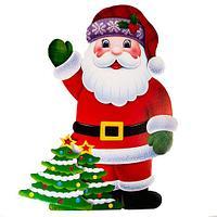 Фигура ростовая новогодняя двусторонняя с глиттером «Сказочные друзья» (Санта Клаус)