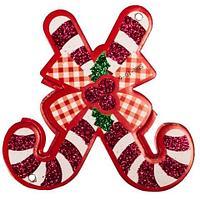 Комплект новогодних подвесок с глиттером «Праздник на пороге» [10 шт] (Рождественский посох), фото 1