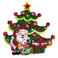 Комплект новогодних подвесок с глиттером «Праздник на пороге» [10 шт] (Дед Мороз и ёлка), фото 1