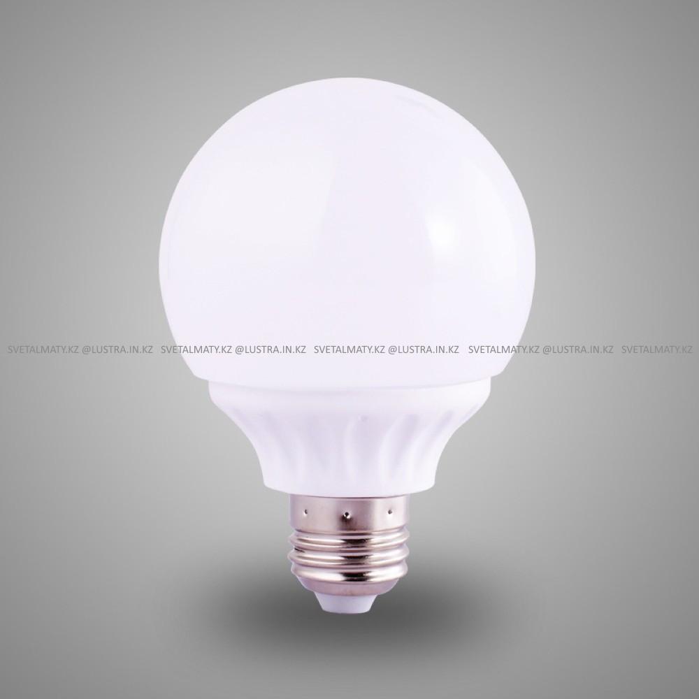 Декоративная круглая лампочка пластиковая белая G80 E27 LED 9+9W Пластиковый корпус