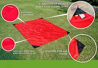 Коврик карманный для пикника или пляжа Beach Mat в чехле (1 местный / Красный), фото 1
