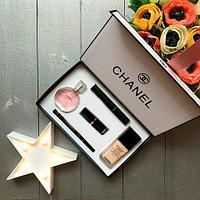 Подарочный набор декоративной косметики «Chanel» (5 в 1 {тон, парфюм, тушь, помада, карандаш-подводка})