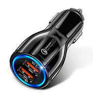 Зарядное устройство от прикуривателя {2 USB, QC 3.0, 3.1A} GETIHU с подсветкой и быстрой зарядкой (Черный)