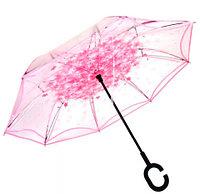 Чудо-зонт автоматический прозрачный «Перевертыш наоборот» (Розовые цветы)