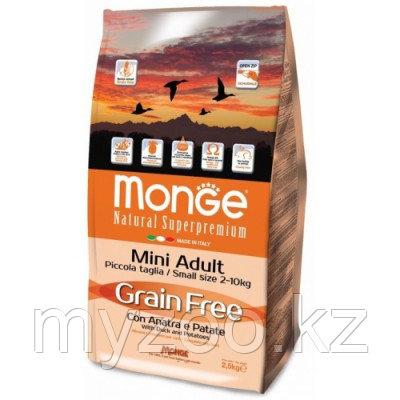 Monge Grain Free All Breeds Duck Mini, Монже беззерновой корм для взрослых собак мелких пород с уткой уп.2,5кг