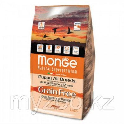 Monge Grain Free All Breeds Puppy & Junior Duck, Монже беззерновой корм для щенков всех пород с уткой,уп.2,5кг