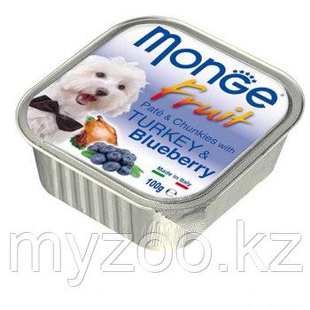 Monge Fruit Dog, нежный паштет для собак, индейка с черникой, ламистер 100гр.