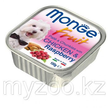 Monge Fruit Dog, нежный паштет для собак, курица с малиной, ламистер 100гр.