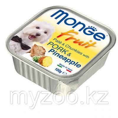 Monge Fruit Dog, нежный паштет для собак, свинина с ананасом, ламистер 100гр.
