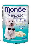 Monge Dog Grill, Монже влажный корм для собак с треской, пауч. 100гр.
