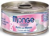 MONGE Dog cans 95 гр Кусочки для собак цыпленок с говядиной