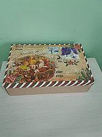 Коробка крышка+дно крафт 37*24*10см посылка желтая