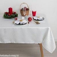 Скатерть Доляна «Звёзды», цвет белый, 150х280 см, полиэстер, 115 ±10 гр/м2
