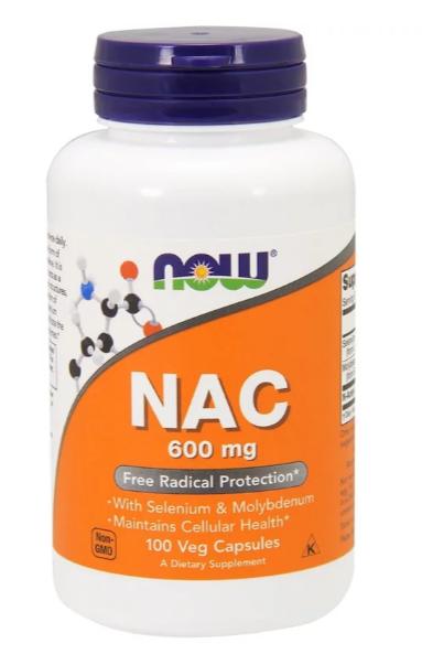 Now Foods, NAC (N-ацетил-цистеин), 600 мг, 100 растительных капсул NOW-00085