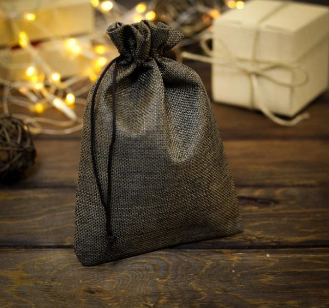 Мешочек подарочный из холщи, коричневый, 10 х 14 см