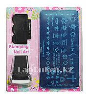Набор для стемпинга ногтей Simplism Style-02, пластины для дизайна ногтей, штамп, скребок металлический