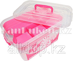"""Аптечка для лекарств 6,5 л """"Домашний Доктор"""" с вкладышем (контейнер для аптечки розовый) 80903 (002)"""