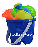 """Набор игрушек для песочницы и пляжа """"Ведерко синее + формы для песка, совок, грабли и лейка (песочный набор)"""