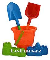 """Набор игрушек для песочницы и пляжа """"Ведерко оранжевое + формы для песка, совок, лопатка (песочный набор)"""