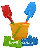 """Набор игрушек для песочницы и пляжа """"Ведерко желтое + формы для песка, совок, лопатка (песочный набор)"""