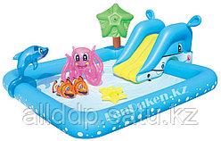 """Детский надувной бассейн """"Аквариум с горкой"""" BESTWAY (239* 206* 86 см) 53052"""