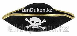 Карнавальная Шляпа Пирата с золотой каемкой (черная)