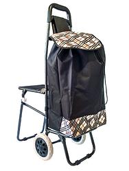 Складная сумка тележка шагающая + стульчик 2 в 1 (черная)