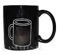 Кружка-хамелеон с терморисунком «Горячий кофе» (черная)