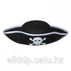 Шляпа Пирата с серебристой тесьмой (детская)
