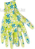 Перчатки садовые из полиэстера с нитриловым обливом зеленые L PALISAD 67743 (002)