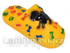 """Игрушка для собак с пищалкой """"Тапка"""" желтая"""