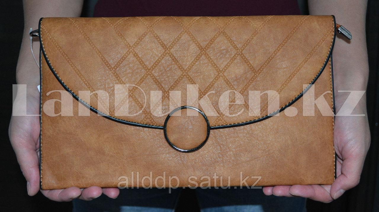 Клатч с декоративной застежкой-пуговицей коричневый A206
