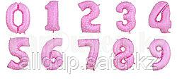Воздушные шары цифры розовые с сердечками 101 сантиметр, от 0 до 9